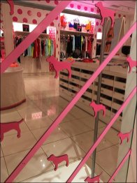 Pink Step-And-Repeat Mirror Branding