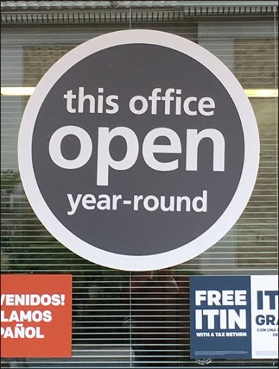 Open Year-Round Storefront Office Sign
