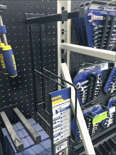 Irwin Bar Clamp Pegboard Hook Vertical C-Cannel 1