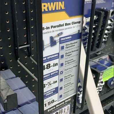 Irwin Bar Clamp Pegboard Hook Vertical C-Cannel 2
