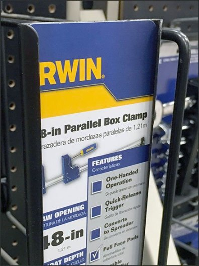 Irwin Bar Clamp Pegboard Hook Vertical C-Cannel 3