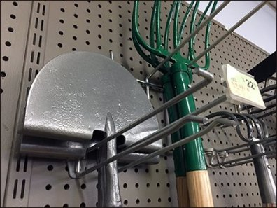 Long-Handle Garden Tools Hung Pegboard Hooked
