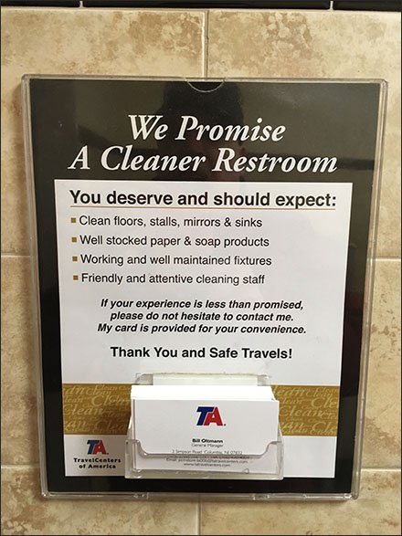 Restroom Pledge Includes Business Cards at Travel Centers