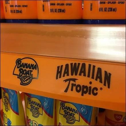 Hawaiian Tropic Banana Boat Display Label Strip Main