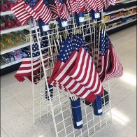 Patriotic Flags Quiver Hung on Grid 1