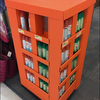 Unbranded Insect Repellent Display in Orange Corrugated
