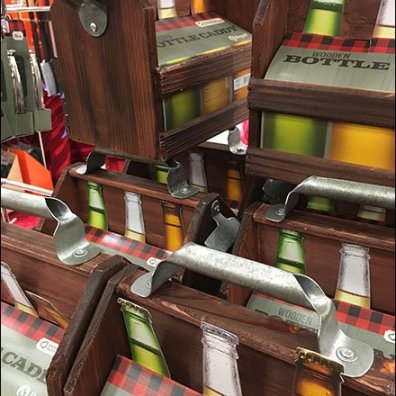 Wood 6-Pack Bottle Carry Merchandising 2