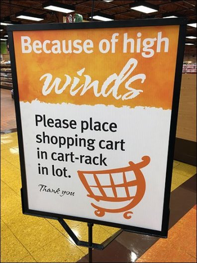 Shopping Cart High Wind Warning CloseUp