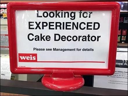Weis Hiring Experienced Cake Decorator Main