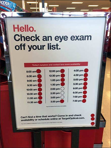 Schedule Your Eye Exam At The Store Entry