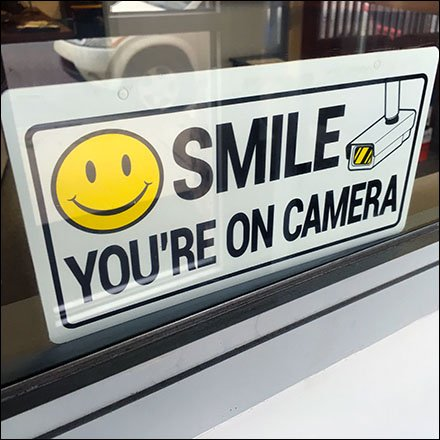 Smile For Store Video Surveillance Warning Sign