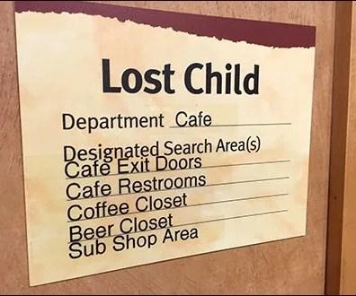 Wegmans Lost Child Checklist Main