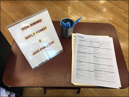 Tray Table Hiring In-Store Job Applicants