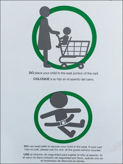 Shopping Cart Warnings In English Spanish and Icon