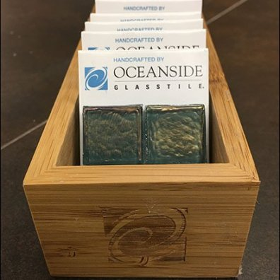 Oceanside Fire-Branded Wood Tray For Tile