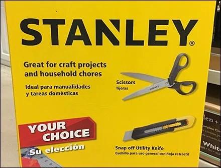 Stanley Scissor and Utility Knife Choice Bulk Bin