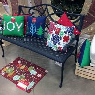 Joyful Park Bench Propped Pillow Promotion