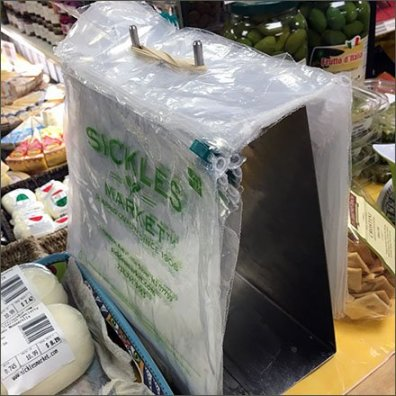Sickles Market Branded Poly Bag Dispenser Feature