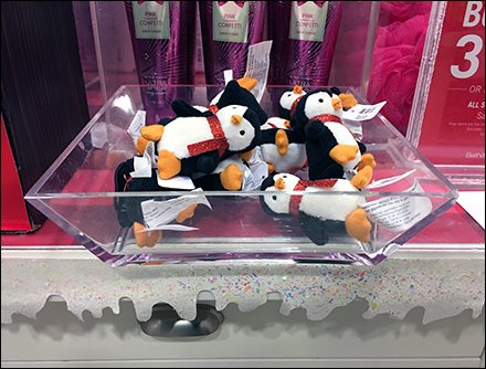 Penguin Acrylic Tray Plush Merchandising
