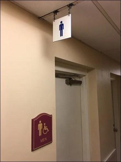 Ceiling Hung Restroom Sign Mens 2
