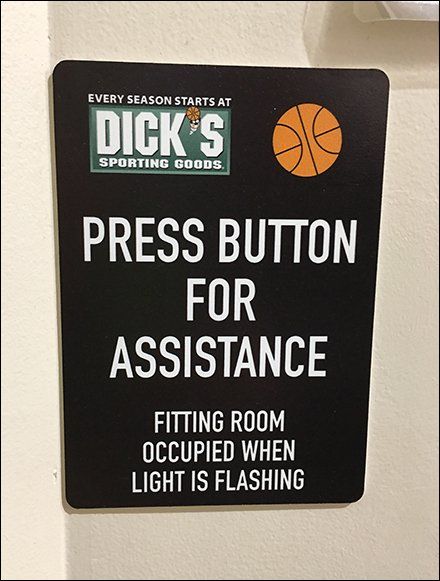 Press For Assistance Fitting Room Call Button