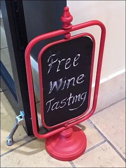 Free Wine Tasting Door Stop Chalkboard Easel