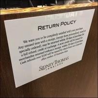 Sidney Thomas Jewelers Return-Policy