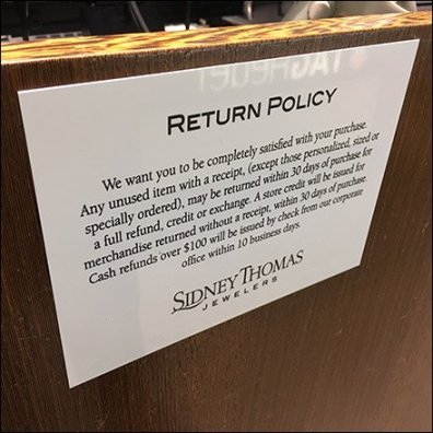 Sidney Thomas Jewelers Return-Policy