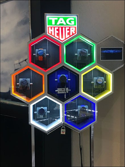 Hexagon Store Fixtures - Tag Heuer Neon Hexagon Honeycombs