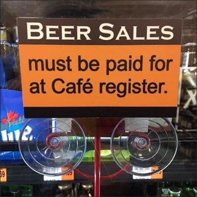 Beer Sales Checkout Navigation For Cooler Door