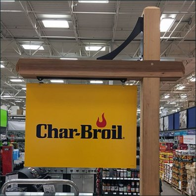 Char-Broil Brands With Wood Sign Posts