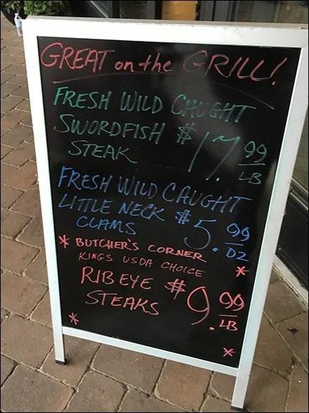 Grilled Swordfish Steaks Chalkboard Easel