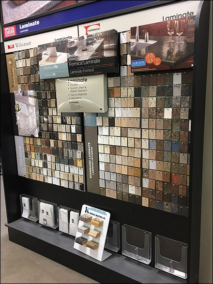 Floorstanding V Groove Tile Display Tower Fixtures Close Up