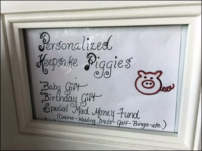 Keepsake Piggies Hand-lettered Framed Sign