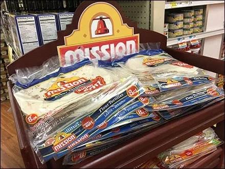 Mission Tortillas Flatbread Merchandising In Mahogany Wood Rack