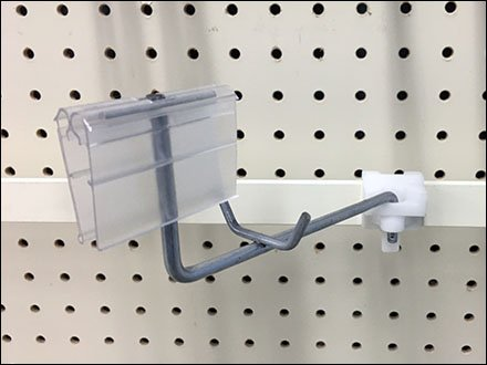 Swing-Arm Fixtures in Retail - Swing-Arm Boxer Display Hook With Flip-Front For Flat Bar