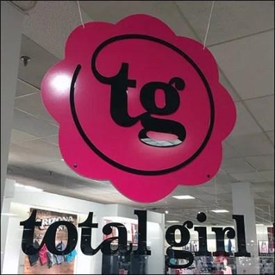 Total Girl Circular Branding Sign Ceiling