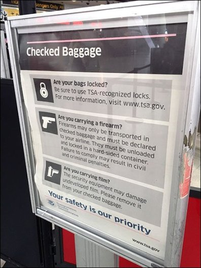 Formal Firearm Warning from the TSA