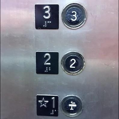 No First Floor, Elevator Button Strike-Thru