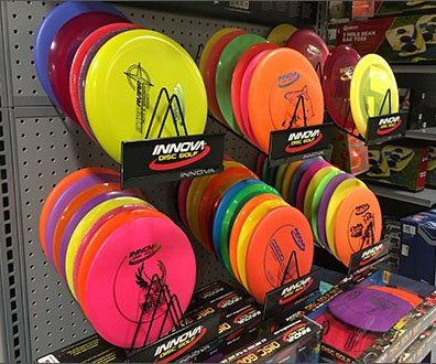 InnoInnova Disk Branded Endcap Displayva Disk Branded Frisbee Display
