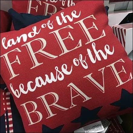 Patriotic Pillow Dump Bin Merchandising Feature