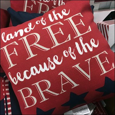 Patriotic Pillow Dump Bin Merchandising Feature