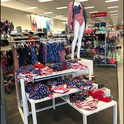 Patriotic Trestle Table Merchandising Display