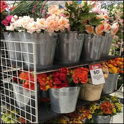 Fall Floral Galvanized Bucket Display Feature