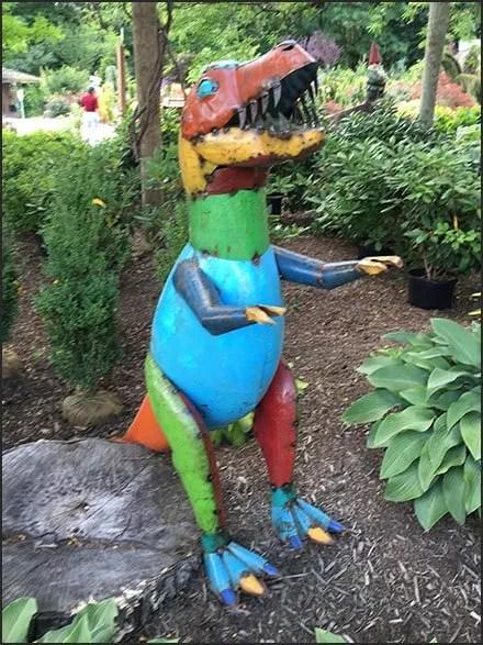Dinosaur Display and Merchandising - Garden Center Dinosaur Scrap Metal Merchandising