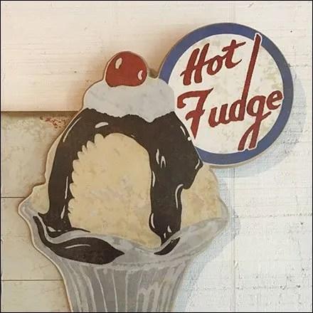 Ice Cream Merchandising and Store Fixtures - Ice Cream Parlor Hot Fudge Sundae Sign