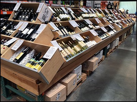 Bottled Wine Banks of Wood Bulk Bins