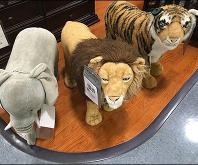 Plush Animals Define Territory at Babies R Us