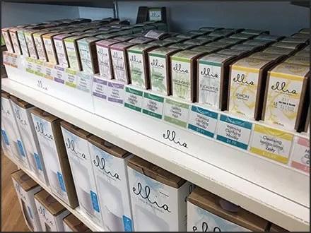 Ellia Color-Coded Scents At Shelf Edge