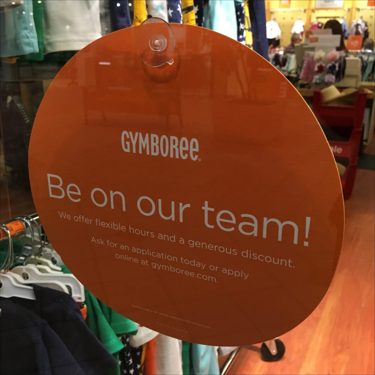 Be On Our Team Window Splat At Gymboree